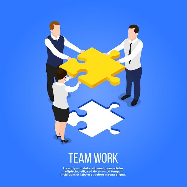 Koncepcja pracy zespołowej puzzle izometryczny Darmowych Wektorów