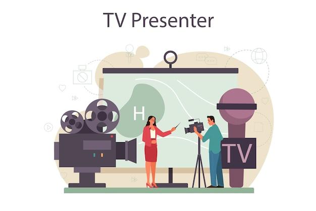 Koncepcja Prezentera Telewizyjnego Premium Wektorów