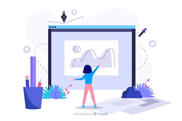 Koncepcja procesu projektowania strony docelowej Darmowych Wektorów