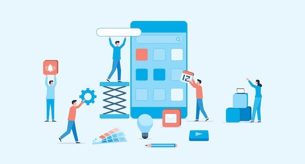 Koncepcja procesu tworzenia aplikacji mobilnych i projektowania stron internetowych Premium Wektorów