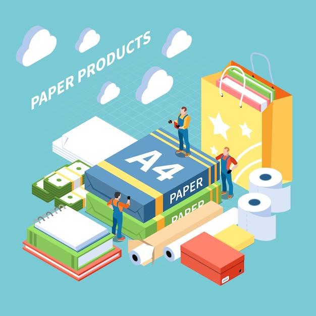 Koncepcja Produkcji Papieru Z Symbolami Produktów Gotowych Izometryczny Darmowych Wektorów