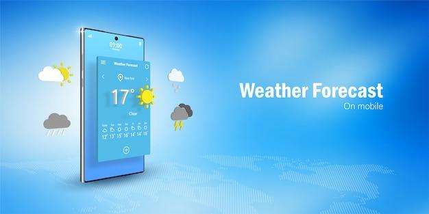 Koncepcja Prognozy Pogody, Smartfon Wyświetla Widget Aplikacji Prognozy Pogody, Ikony, Symbole Premium Wektorów