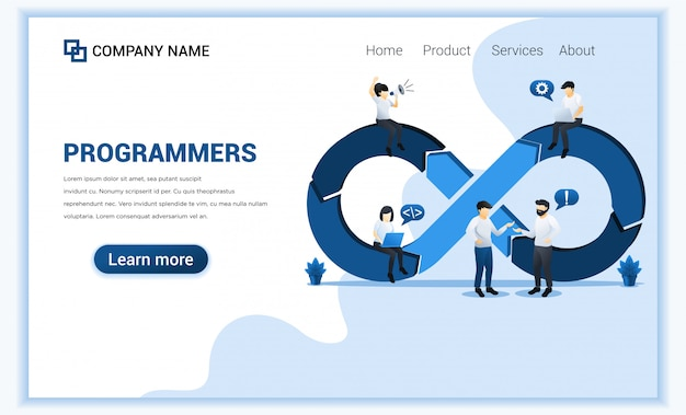 Koncepcja Programistów W Pracy, Tworzenie Oprogramowania Z Postaciami. Premium Wektorów