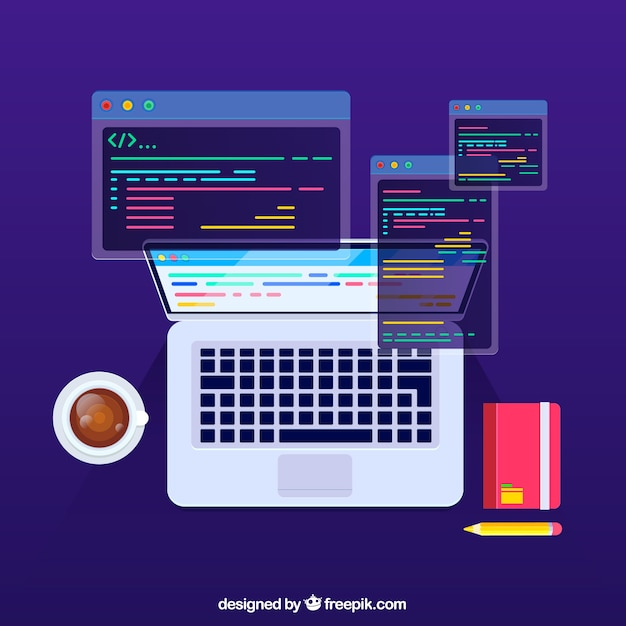 Koncepcja Programistów Z Płaskiej Konstrukcji Premium Wektorów