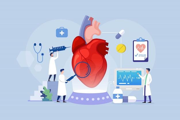 Koncepcja Projektowania Leczenia Chorób Serca Z Małymi Ludźmi Premium Wektorów
