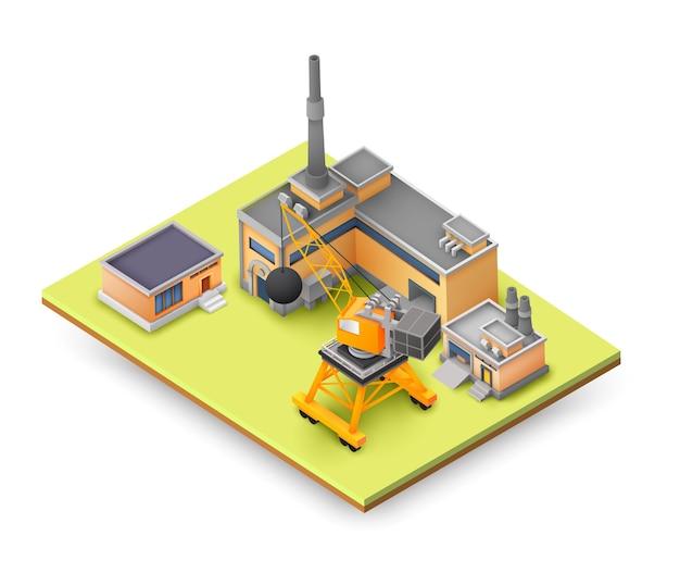 Koncepcja Projektowania Obiektów Fabrycznych Na żółtym Panelu Z Konstrukcjami Przemysłowymi, Kolorowymi Budynkami, Urządzeniami Do Podnoszenia I Różnymi Koncepcjami Obiektów Darmowych Wektorów