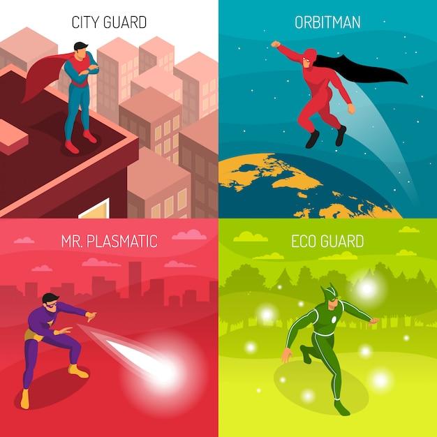 Koncepcja projektowania superbohatera Darmowych Wektorów