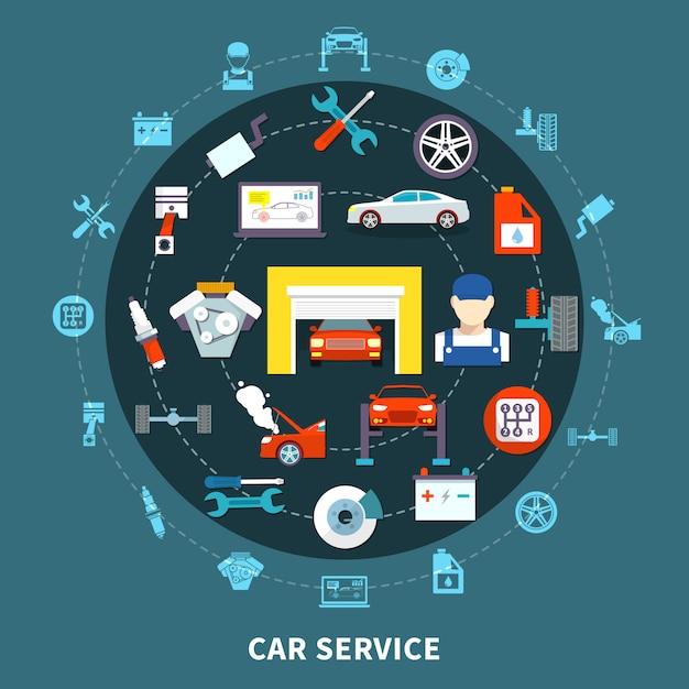 Koncepcja projektowania usług samochodowych Darmowych Wektorów