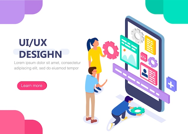 Koncepcja Projektowania Ux / Ui Z Charakterem Premium Wektorów