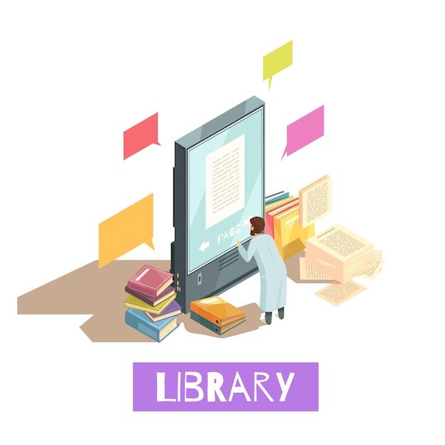 Koncepcja projektu izometryczny biblioteki online Darmowych Wektorów