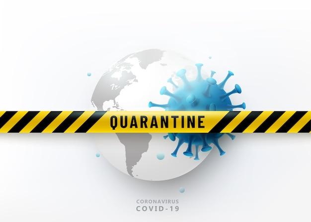 Koncepcja Projektu Kwarantanny Koronawirusa. Wirus 2019-ncov Atakuje Ziemię. Listwa Ochronna Ostrzegawcza Darmowych Wektorów