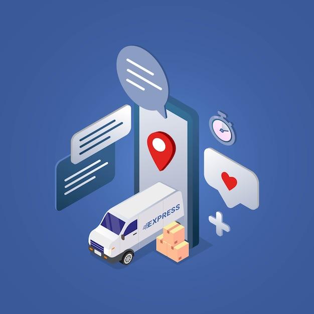 Koncepcja Projektu Usługi Szybkiej Dostawy Dla Ilustracji Izometrycznej Aplikacji Mobilnej Premium Wektorów