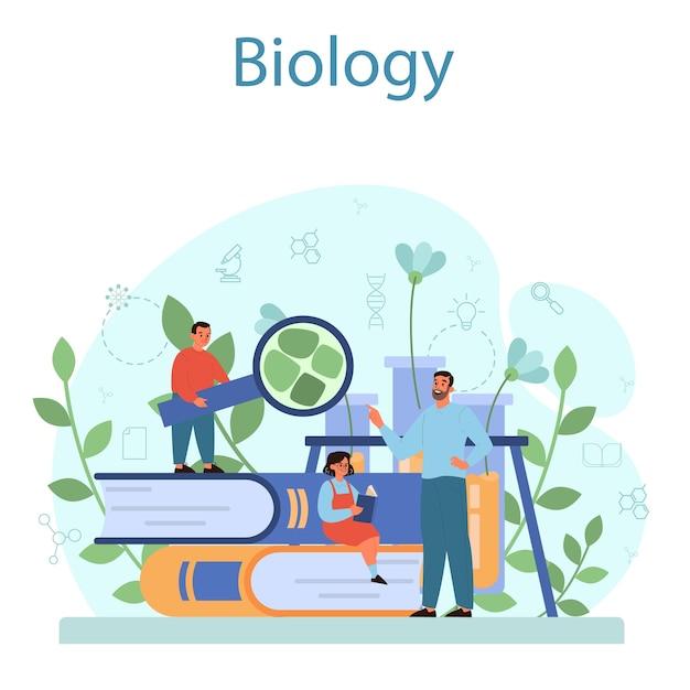 Koncepcja Przedmiotu Szkoły Biologii. Lekcja Botaniki. Naukowiec Badający Przyrodę. Premium Wektorów
