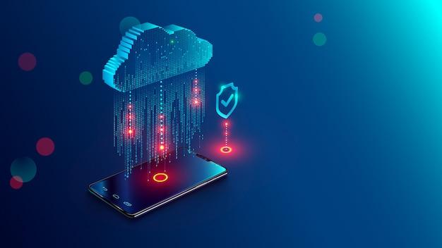 Koncepcja przetwarzania w chmurze Premium Wektorów