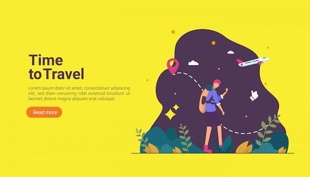 Koncepcja przygody backpacker podróży. wakacje na świeżym powietrzu temat turystyki pieszej, wspinaczki i trekkingu Premium Wektorów