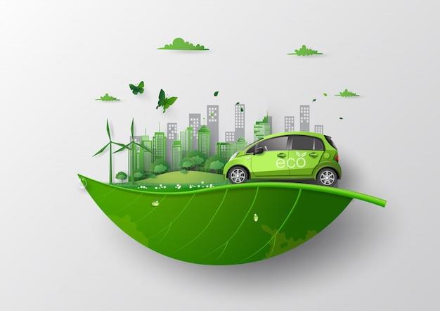 Koncepcja Przyjazna środowisku Z Ekologicznym Samochodem. Premium Wektorów