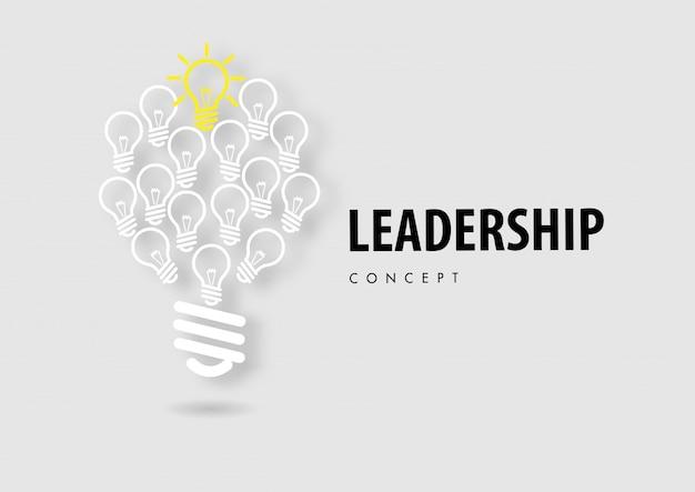 Koncepcja Przywództwa Z Linii Ikona Papieru Wyciąć Styl Wektor Premium Wektorów