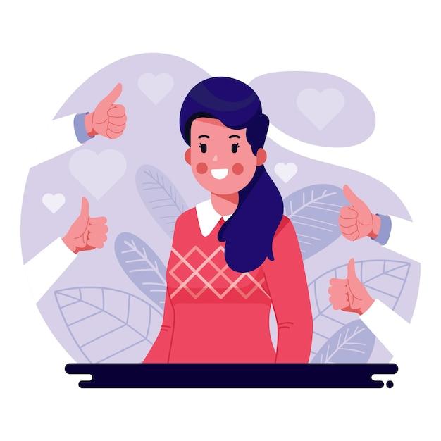 Koncepcja Publicznego Zatwierdzenia Z Kobiecym Charakterem Darmowych Wektorów