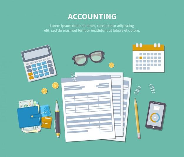 Koncepcja Rachunkowości. Dzień Podatkow. Analizy Finansowe, Płatności Podatków, Analityka, Zbieranie Danych, Statystyki, Badania. Premium Wektorów