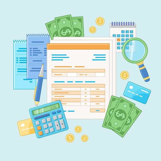 Koncepcja Rachunkowości. Zapłata Podatku I Faktura. Analizy Finansowe, Analityka, Planowanie, Statystyka, Badania. Dokumenty, Formularze, Kalkulator, Czeki, Lupa, Gotówka, Karty Kredytowe. Premium Wektorów