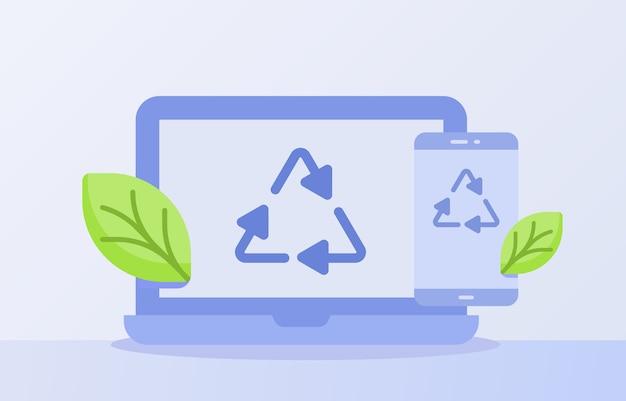 Koncepcja Recyklingu Odpadów Elektronicznych Recyklingu Ikona Trójkąt Na Wyświetlaczu Smartfona Na Ekranie Laptopa Na Białym Tle Premium Wektorów