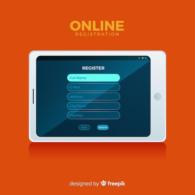 Koncepcja rejestracji online o płaskiej konstrukcji Darmowych Wektorów