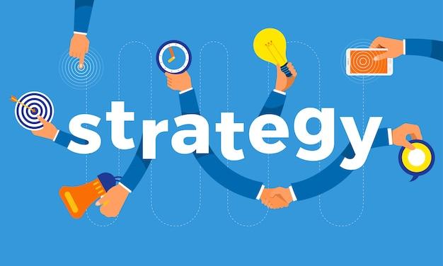 Koncepcja Ręka Stworzyć Symbol Ikonę I Strategię Słów. Ilustracje. Premium Wektorów