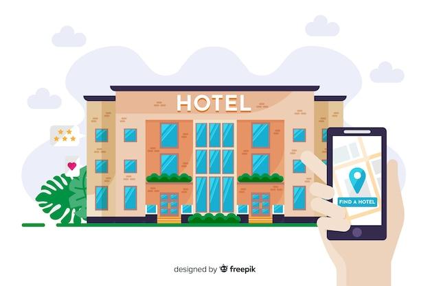 Koncepcja Rezerwacji Hotelu Płaski Darmowych Wektorów