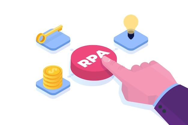Koncepcja Robotycznej Automatyzacji Procesów. Przycisk Ręczny Z Napisem Rpa. Premium Wektorów