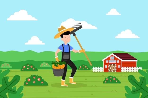 Koncepcja Rolnictwa Ekologicznego Z Ilustrowanym Rolnikiem Darmowych Wektorów