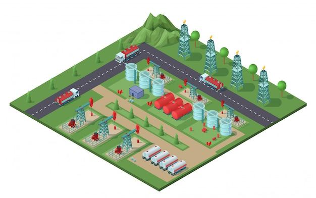 Koncepcja Roślin Izometrycznych Przemysłowych Pól Naftowych Darmowych Wektorów