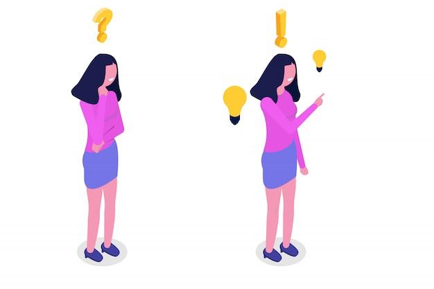 Koncepcja Rozwiązywania Problemów. Izometryczne Kobieta Myśli Z Ikonami Znaku Zapytania I żarówki. Premium Wektorów