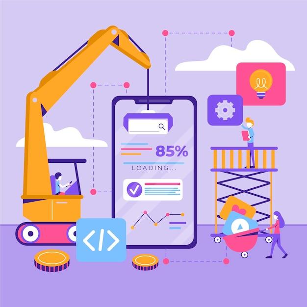 Koncepcja Rozwoju Aplikacji Z Telefonem I Dźwigiem Darmowych Wektorów