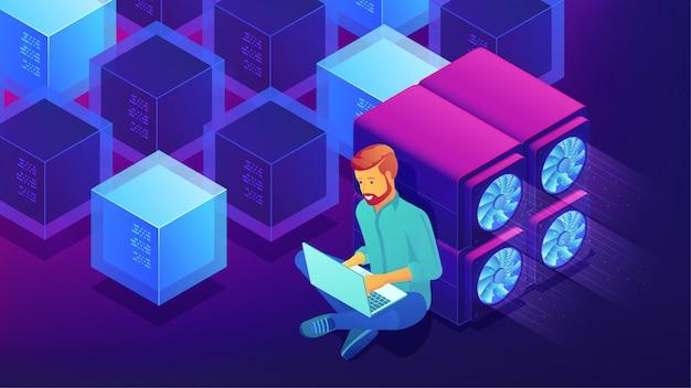 Koncepcja Rozwoju Izometrycznego Blockchain. Premium Wektorów