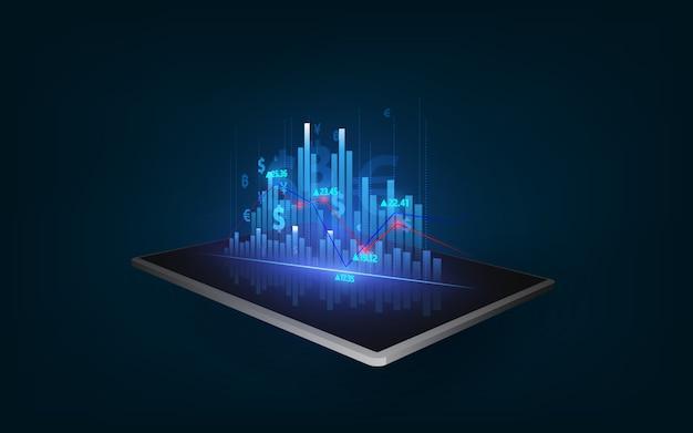 Koncepcja Rozwoju, Postępu Lub Sukcesu Firmy. Pokazujący Rosnącą Liczbę Wirtualnych Hologramów Na Tle Tabletu. Premium Wektorów