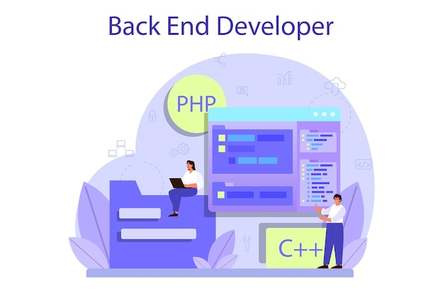Koncepcja Rozwoju Zaplecza. Proces Tworzenia Oprogramowania. Poprawa Interfejsu Strony Internetowej. Programowanie I Kodowanie. Zawód It. Premium Wektorów