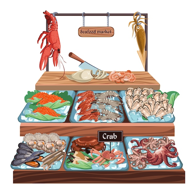 Koncepcja Rynku Owoców Morza Darmowych Wektorów
