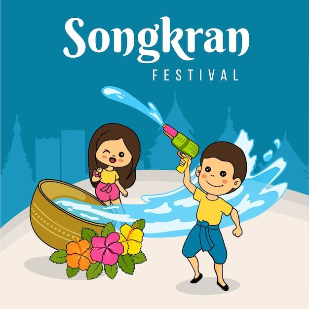 Koncepcja Rysunek Festiwalu Songkran Darmowych Wektorów