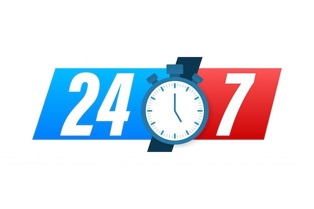 Koncepcja Serwisu 24-7. 24-7 Otwarte. Ikona Usługi Wsparcia. Ilustracji. Premium Wektorów
