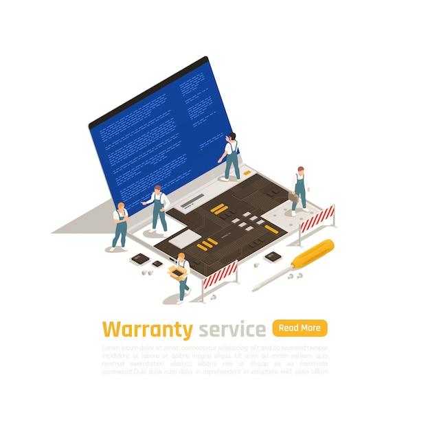 Koncepcja Serwisu Izometrycznego Serwisu Gwarancyjnego Z Małymi Figurkami Techników Wykonujących Naprawę Dużego Laptopa Darmowych Wektorów