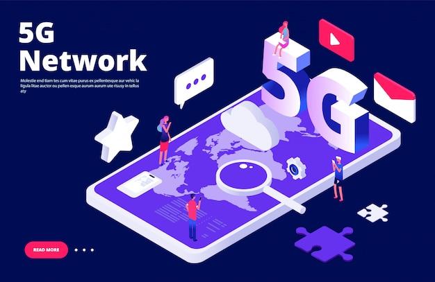 Koncepcja Sieci 5g. Globalna Strona Docelowa Bezprzewodowego Internetu 5g Premium Wektorów