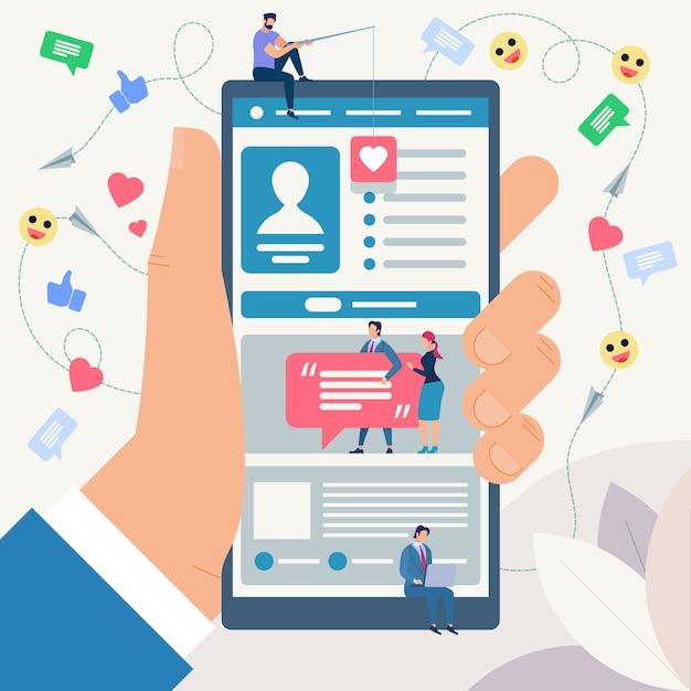 Koncepcja Sieci Społecznej. Ilustracja Wektorowa. Premium Wektorów
