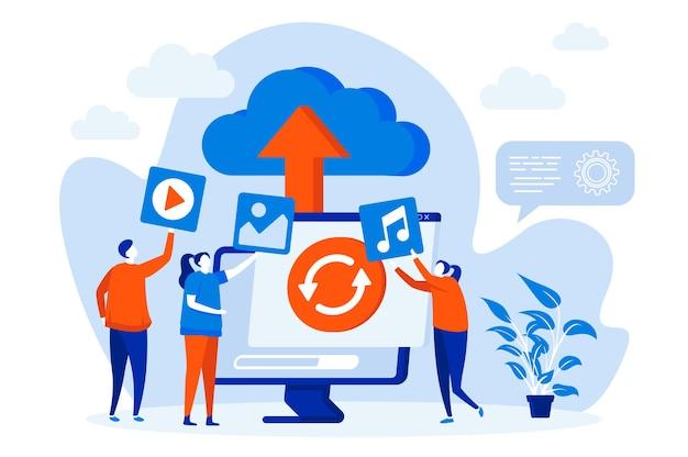 Koncepcja Sieci Web Przechowywania W Chmurze Z Ilustracją Postaci Ludzi Premium Wektorów