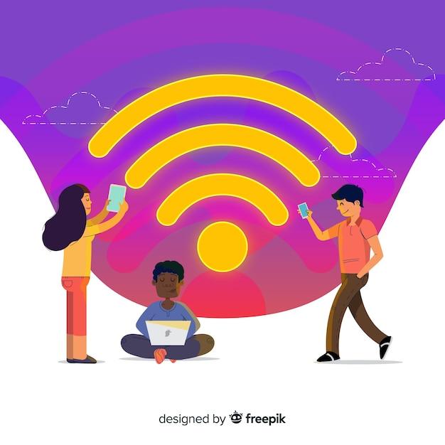 Koncepcja sieci wifi płaski kształt Darmowych Wektorów