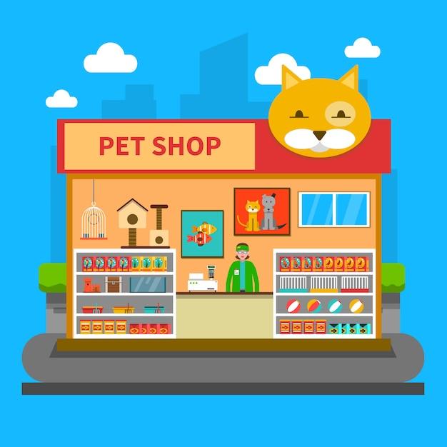 Koncepcja sklepu dla zwierząt domowych Darmowych Wektorów