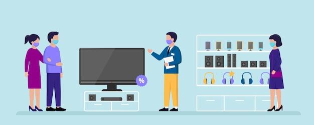 Koncepcja Sklepu Elektronicznego. Osoby Wybierające Sprzęt Agd Do Kupienia W Supermarkecie Elektronicznym. Premium Wektorów