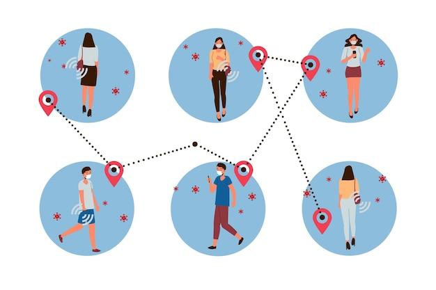 Koncepcja śledzenia Kontaktów Koronawirusa Darmowych Wektorów