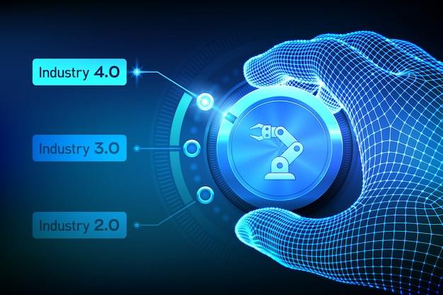 Koncepcja Smart Industry 4.0. Kroki Rewolucji Przemysłowych. Wireframe Ręcznie Obracając Gałkę I Wybierając Tryb Industry 4.0. Premium Wektorów