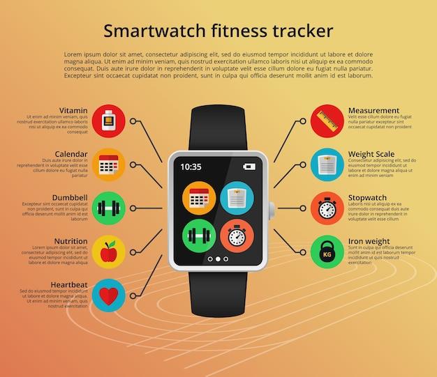 Koncepcja Smartwatch Fitness Tracker W Stylu Płaski Darmowych Wektorów