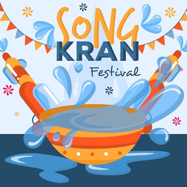 Koncepcja Songkran W Płaskiej Konstrukcji Darmowych Wektorów